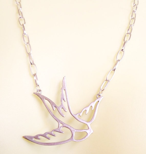 metal BIRD cutout NECKLACE pendant silver chain animal handmade costume jewelry