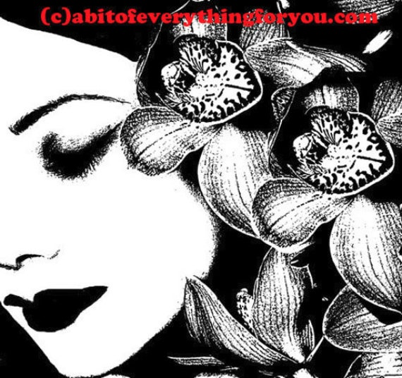 woman with orchid flowers in hair printable wall art png jpg clipart digital download art image graphics designs black and white artwork