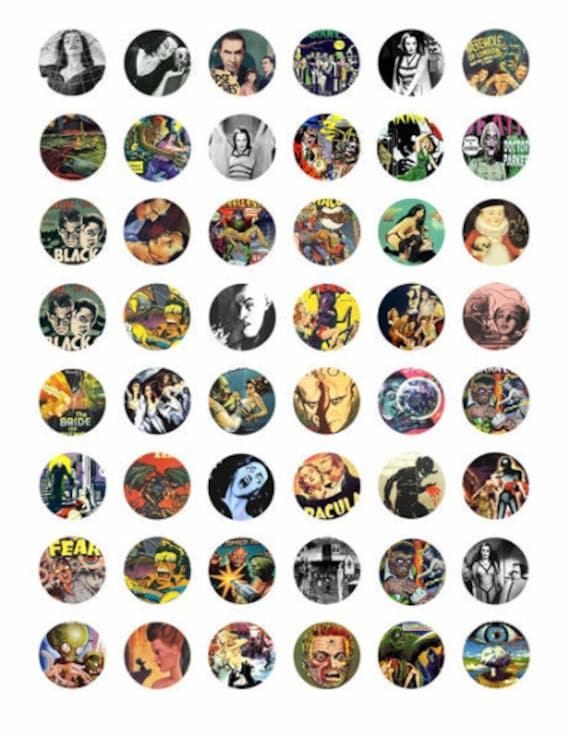 """creatures monsters movies posters horror comics collage sheet 1"""" inch circles digital download graphics bottle cap images printables"""
