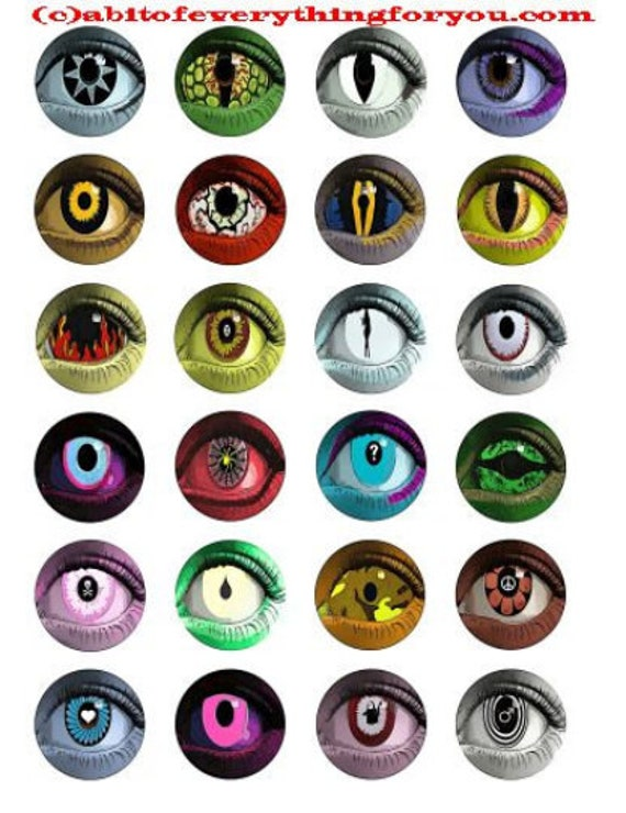 "evil eyes downloadable collage sheet creature alien eyes 1.5"" inch circles clip art digital graphics images jewelry collage pendant pins"