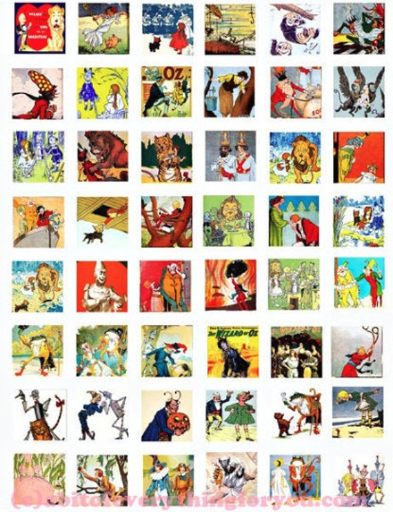 """vintage wizard of oz collage sheet clipart digital download 1"""" squares downloadable images fairytale books diy jewelry making printables"""