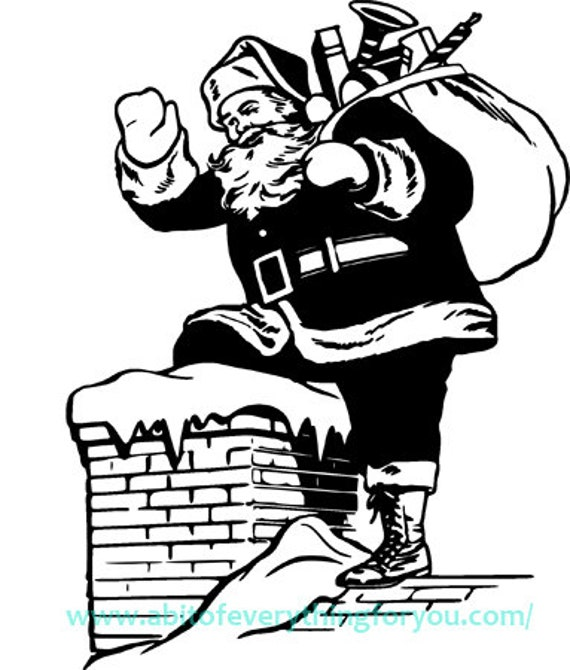 santa claus on roof clipart christmas printable art jpg png clip art instant download digital image downloadable graphics