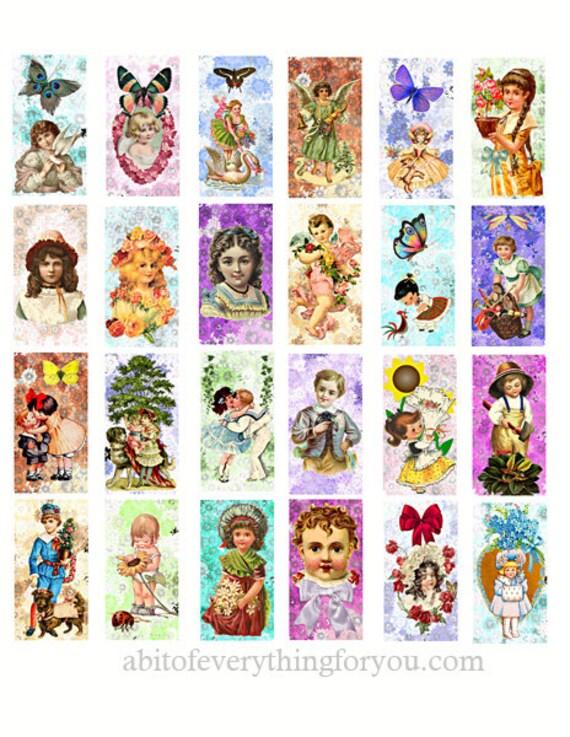 "victorian children flower butterflies spring domino collage sheet 1"" x 2"" inch clip art digital download graphics images printables pendants"