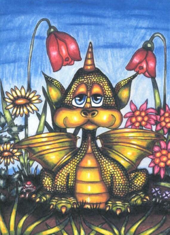 goofy baby dragon flowers original art print fantasy beasts creatures fairytale artwork