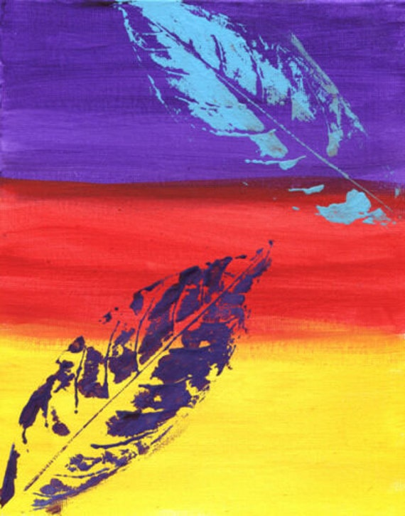 leaves surreal abstract original art painting leaf plants gradient colors acrylics canvas colorful 8x10""