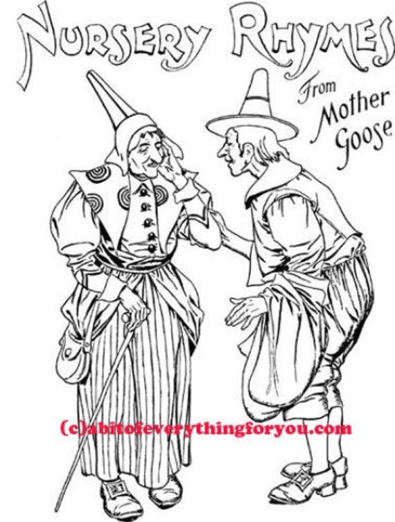 mother goose witch art coloring page printable art download digital mother goose fairytale images line art digital stamp nursery rhyme