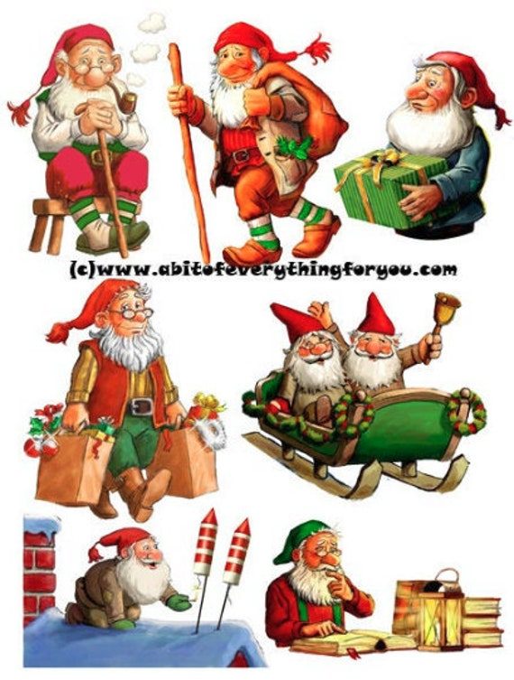 christmas gnomes die cuts clipart digital download craft cut outs sheet graphics images craft paper christmas printables