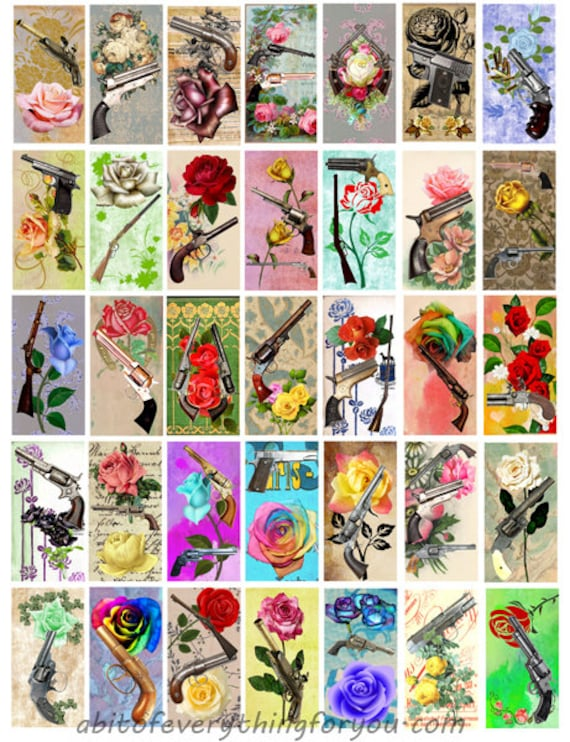 domino collage sheet roses guns pistols rifles art 1 x 2 inch images clipart digital download domino graphics downloadable images printables
