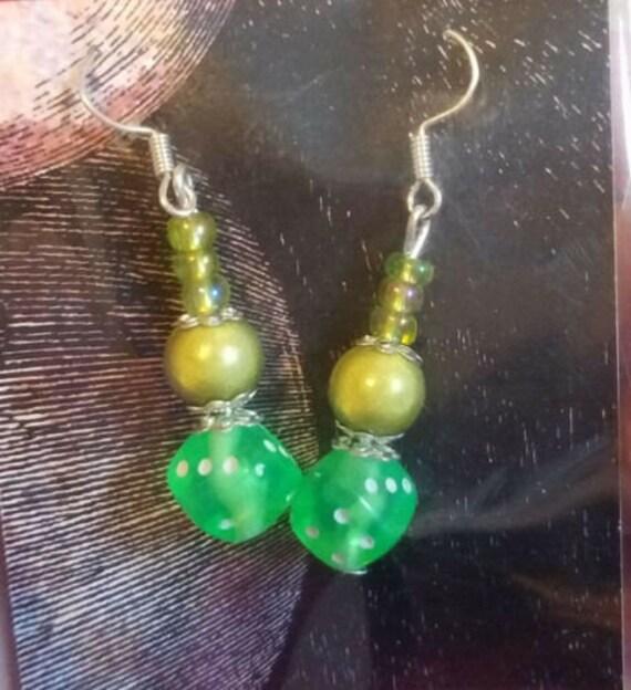 green bead drop earrings long dangles dice bead handmade beaded jewelry