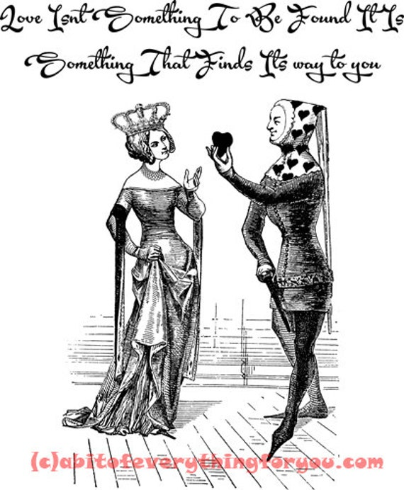 Queen Jester Love Romance Quotes printable vintage art clipart png jpg download digital image downloadable graphics black and white artwork