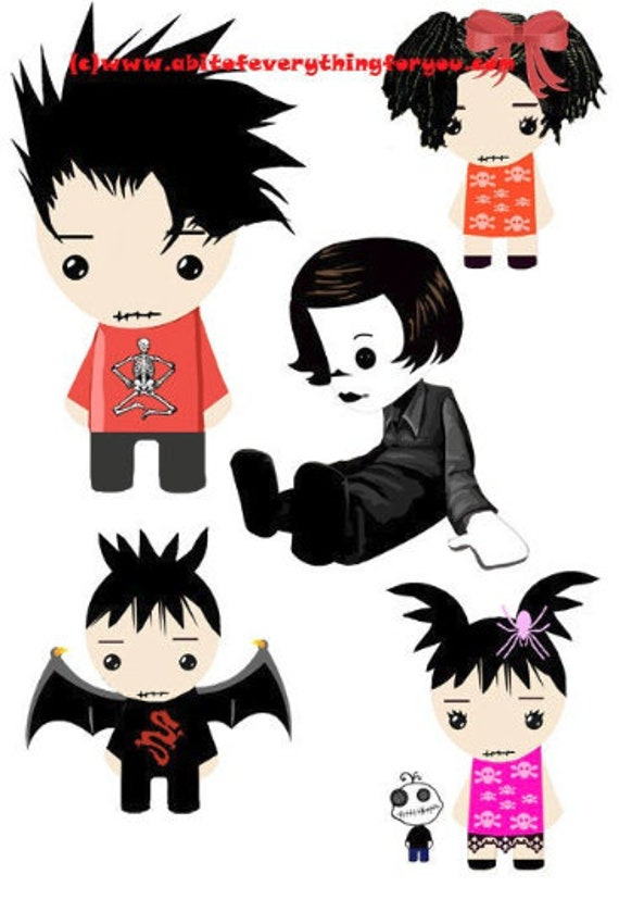 gothic rag dolls paper dolls cartoon clipart die cuts craft cut outs goth kids halloween digital download graphics images printables
