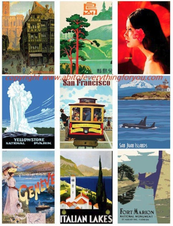 """vintage antique vacation world travel posters collage sheet 2.5"""" x 3.5"""" inch clip art graphics images digital download craft printables"""