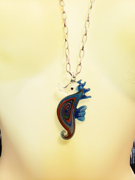 blue glass seahorse pendant NECKLACE chain sealife ocean animal jewelry
