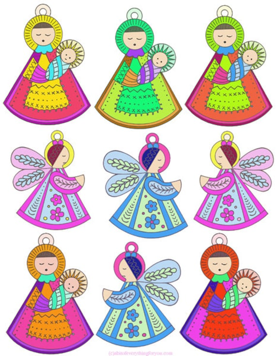 Christmas ornaments clipart collage sheet printable cut outs digital download mary jesus angels crafts graphics images for DIY cards