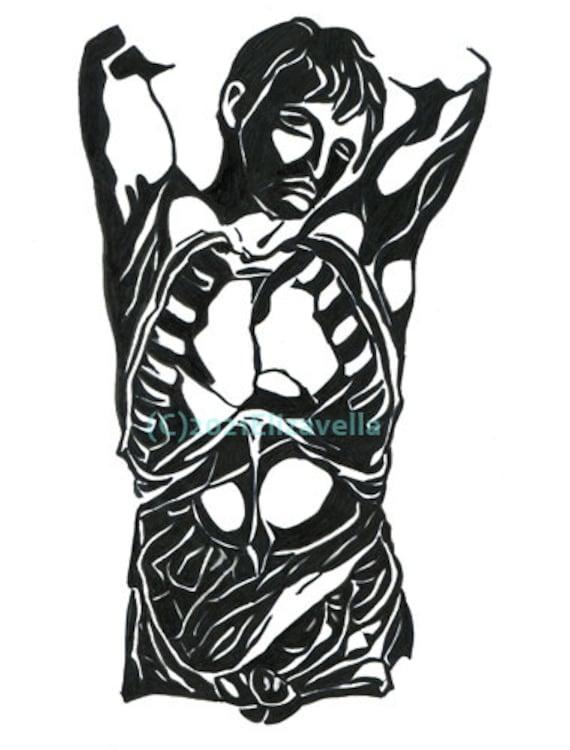 Original art, human anatomy drawings, black ink, male body form, abstract, minimalism, markers, creepy, dark art, Elizavella