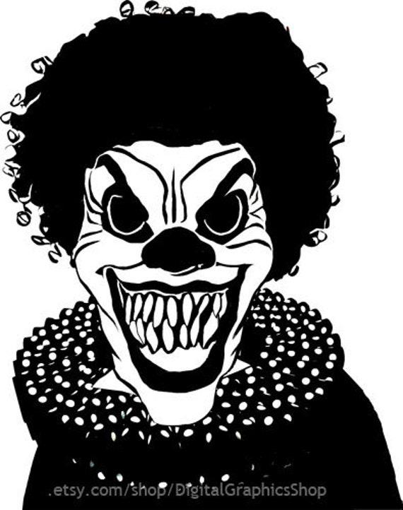 Creepy Evil Clown Monster printable art clipart png jgp digital image circus horror graphics instant downloads die cuts