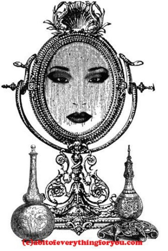 magic mirror womans face printable wall art download clipart digital image graphics digital print pictures home living room bedroom decor
