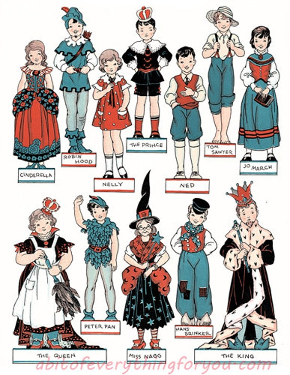 vintage children theater costumes fairytale printable die cuts paper dolls clipart digital download craft cut outs downloadable graphics