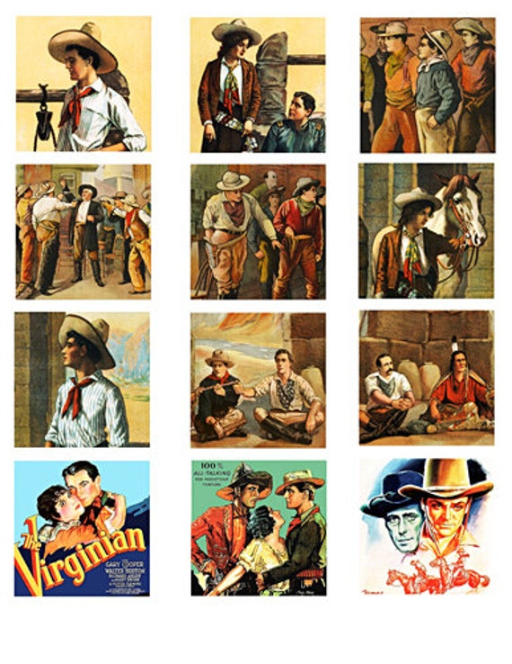 """vintage cowboys cowgirls art collage sheet 2.25"""" squares clip art digital download graphics images western movie posters art printables"""