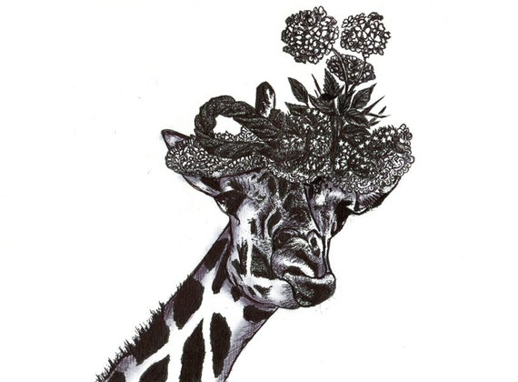 ORIGINAL ABSTRACT giraffe flower hat pen ink drawing jungle animals wildlife art