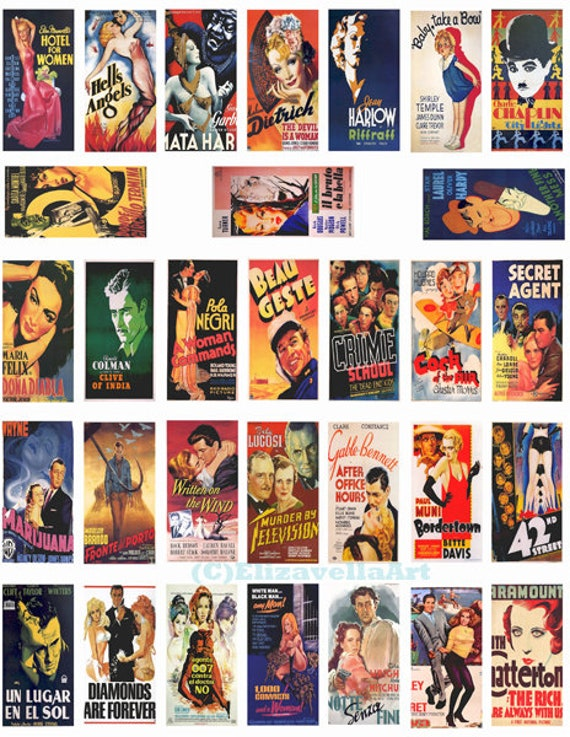 """domino collage sheet  vintage old movie posters domino clipart digital download  1"""" x 2"""" inch graphics images 1920s 1930s 1940s printables"""