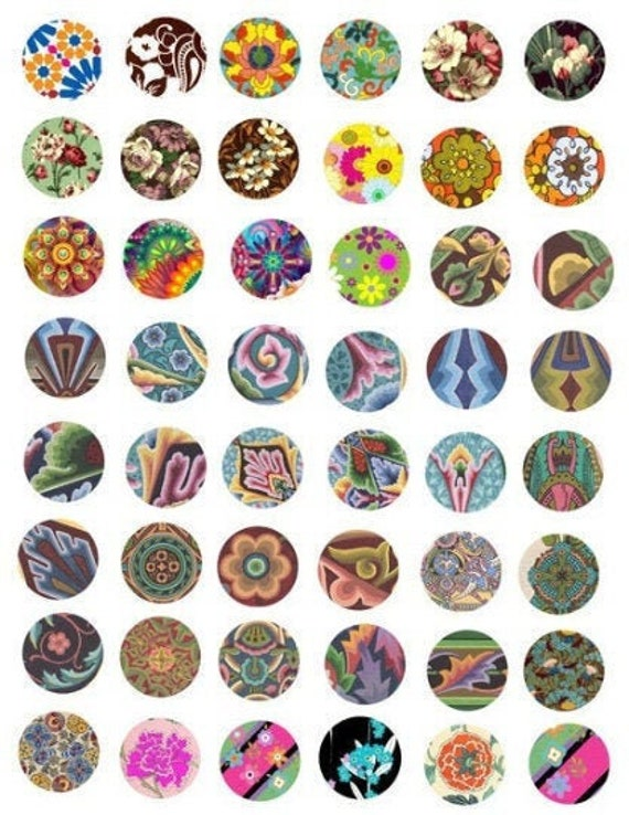 deco florals flowers textile patterns collage sheet printables 1x1 inch circles clipart digital download graphics abstract image diy crafts