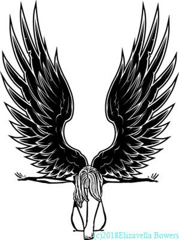 fallen angel woman printable art clipart png download digital image graphics digital stamp fantasy DIY craft print out