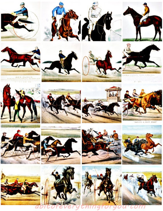 horse jockey racing equestrian clip art digital download collage sheet 2 inch squares graphics images printables pendants