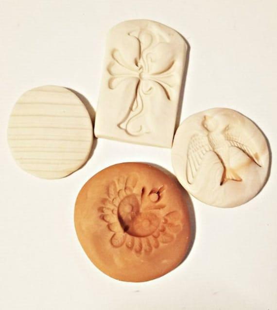 4 polymer clay molds lot for jewelry making pendants bird stripes cross owl handmade