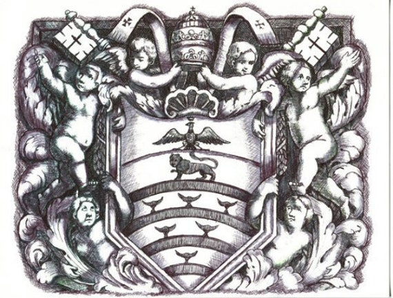 "original art ink drawing angels cherubs shield crest baroque leaves pen ink 8.5"" x 11"" coat of arms fantasy medieval artwork By Elizavella"