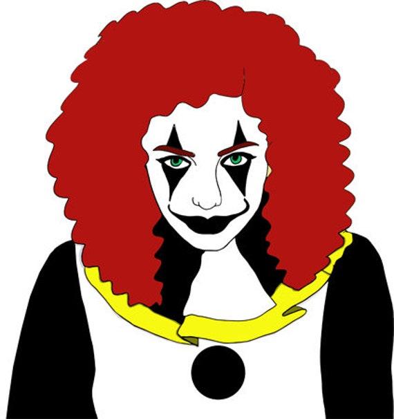 Creepy circus Clown girl printable art clipart png jpg svg vector file digital image graphics instant downloads