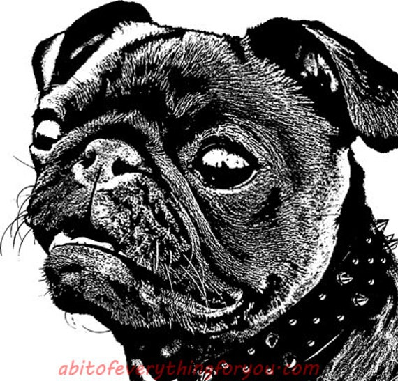 black pug dog face abstract printable art print png clipart download digital image downloadable graphics pets animal black and white art