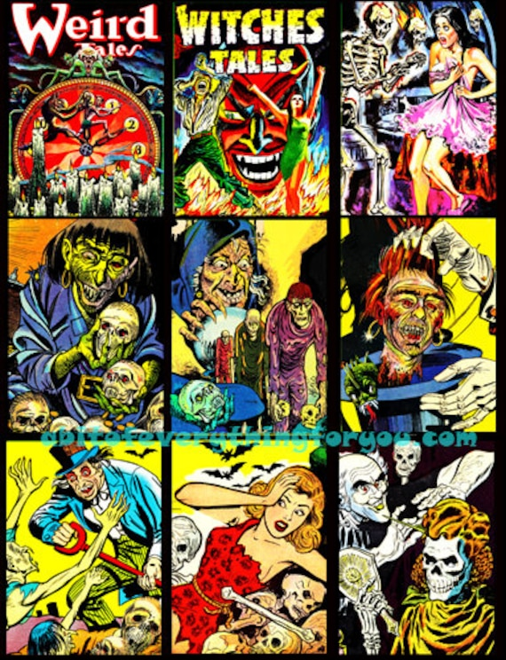"collage sheet vintage horror comics art digital download 2.5"" x 3.5"" graphics downloadable images printables diy crafts aceo scrapbooking"