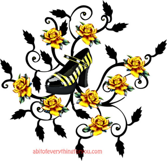 womans yellow stripes high heels shoes roses printable art clipart png jpg downloadable digital download image fashion graphics art prints