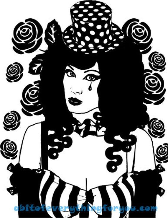 vampire circus freak girl printable art png jpg clipart digital download image goth roses downloadable graphics black and white artwork