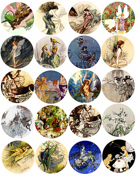 fairy fairies vintage art collage sheet 2 inch circles clipart digital downloadable fantasy fairytale printable images