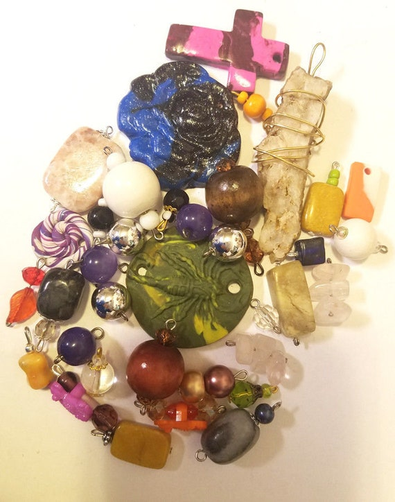36 clay stone pendants bead drops charms mixed lot glass plastic beads jewelry making handmade supplies