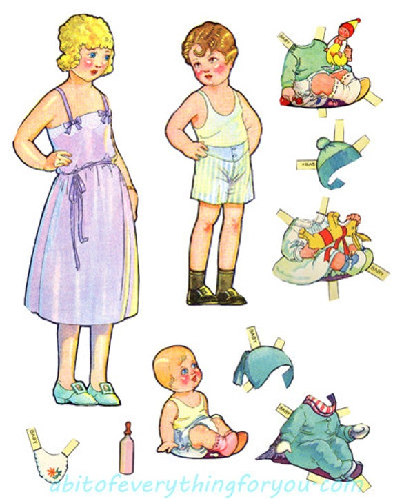 vintage dolls paper dolls baby & clothes printable die cuts clipart digital download craft cut outs downloadable graphics images
