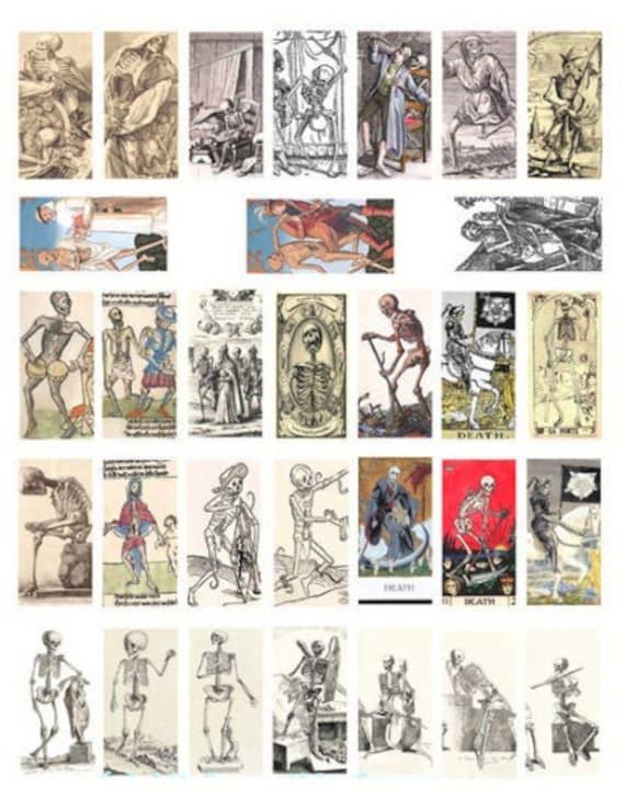 "vintage skulls skeletons day of the dead macabre printables clipart digital download domino collage sheet 1"" x 2"" inch images diy crafts"