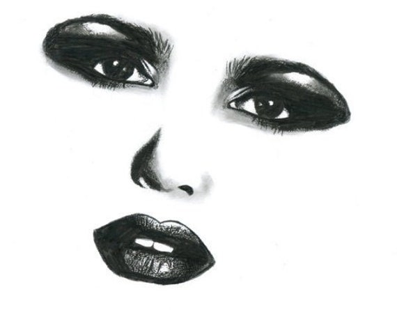 Womans face makeup eyes lips original art drawing portrait pencil black and white artwork