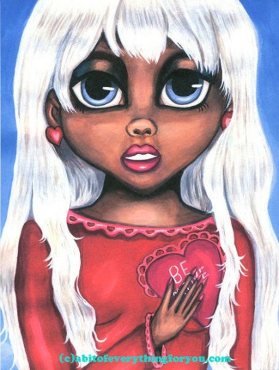 big eye art print ethnic black girl original art prints painting low brow white hair secret love modern art, original artwork, wall art