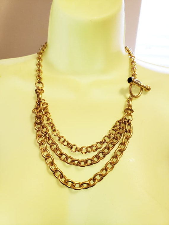 3 layers gold large chain necklace toggle vintage 90s jewelry