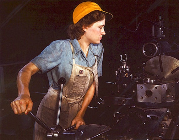 1940s woman working in factory Rosie the riveter vintage color photograph print reproduction