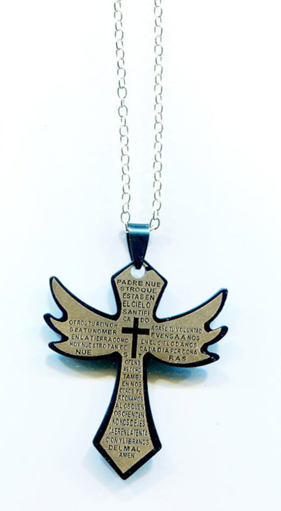 large blue stainelss steel cross pendant chain necklace unisex Mexican fashion religious jewelry