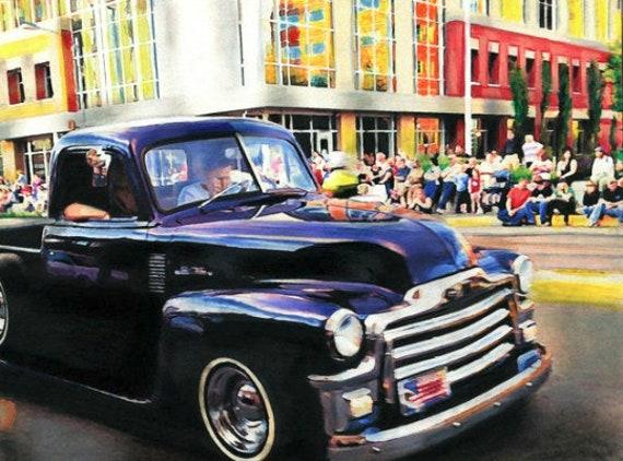 vintage classic black truck abstract art print watercolor painting original art autos vehicle modern artwork city scape skyscraper buildings
