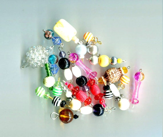 25 bead drops pendants charms glass acrylic mixed lot crafts jewelry making