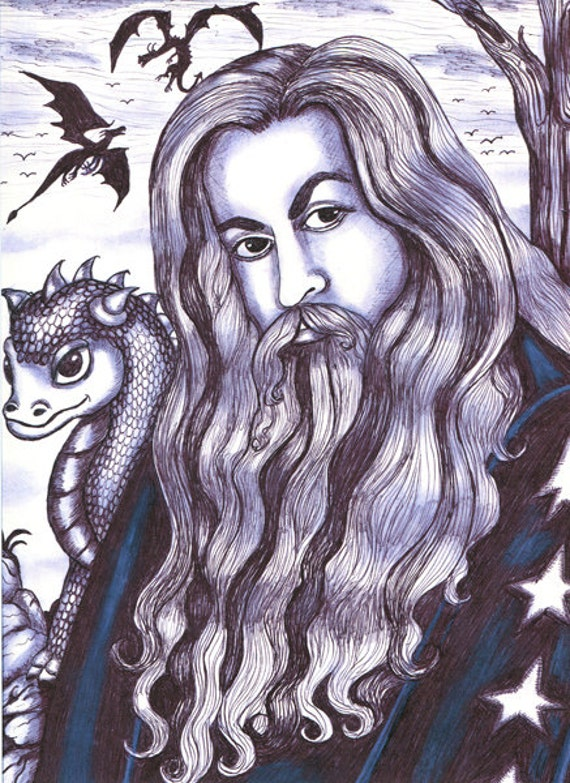 dragon wizard original art print, original drawing, fantasy folk art, original artwork, modern black and white wall art, fairy tales