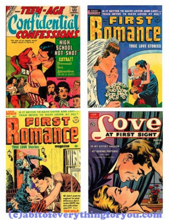 "vintage romance comic book art collage sheet 4"" x 5"" lovers clip art digital download graphics images diy craft printable wall art print"