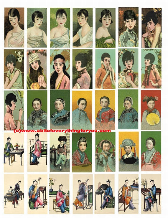 "vintage china chinese women cigarette cards clip art digital download domino collage sheet 1"" x 2"" inch graphics images printables pendants"