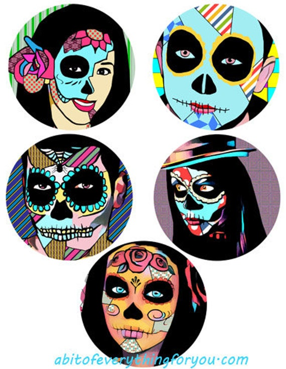 """abstract skulls skeletons day of the dead collage sheet 3.8"""" inch circle clipart digital downloadable printable images DIY crafts"""